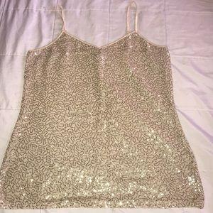 Express size L beige w/ gold sequin camisole.